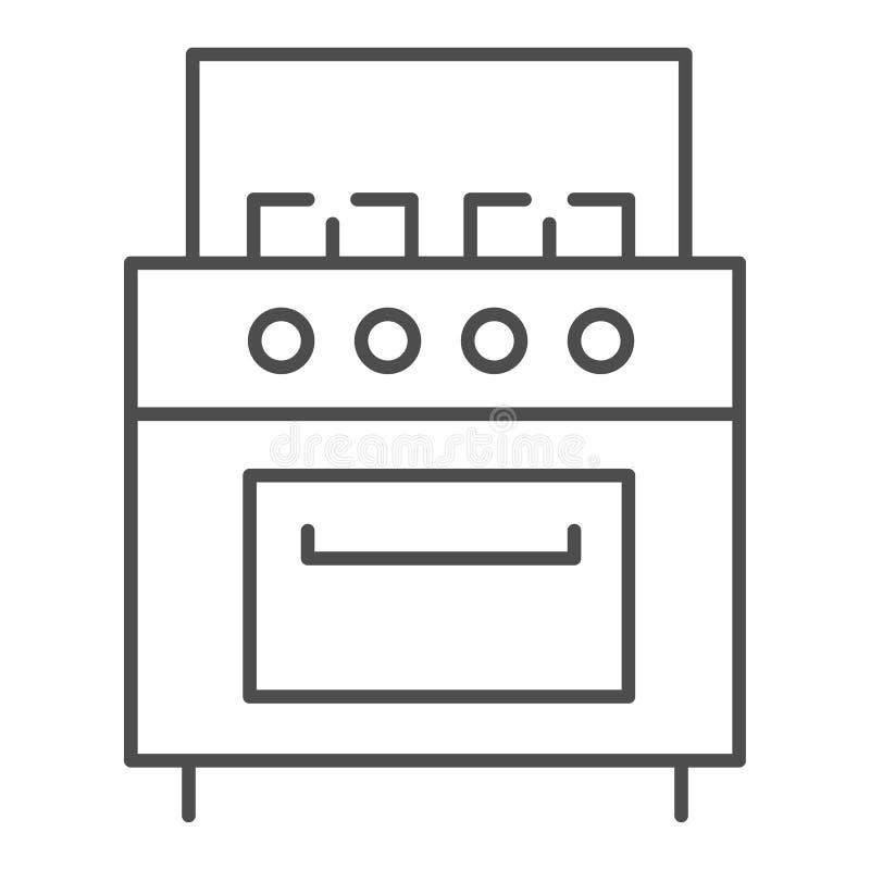 Linea sottile icona del fornello Illustrazione di vettore della stufa isolata su bianco Progettazione di stile del profilo degli  illustrazione vettoriale