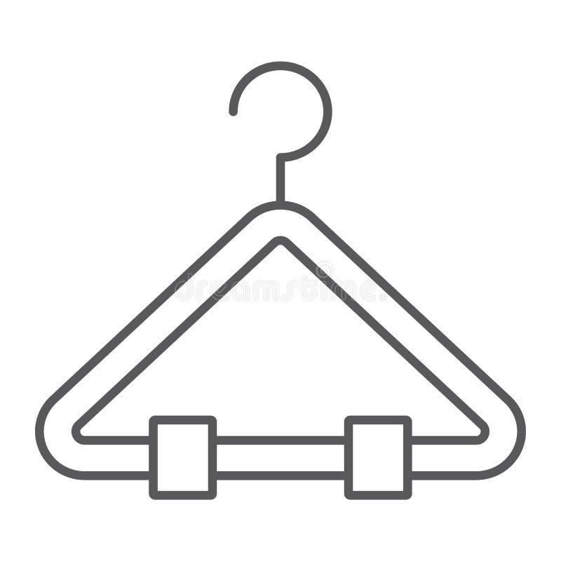 Linea sottile icona del gancio, guardaroba ed usura, segno dello scaffale, grafica vettoriale, un modello lineare su un fondo bia royalty illustrazione gratis