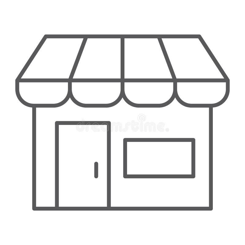 Linea sottile icona del mercato, negozio e deposito, segno del mercato, grafica vettoriale, un modello lineare su un fondo bianco illustrazione vettoriale