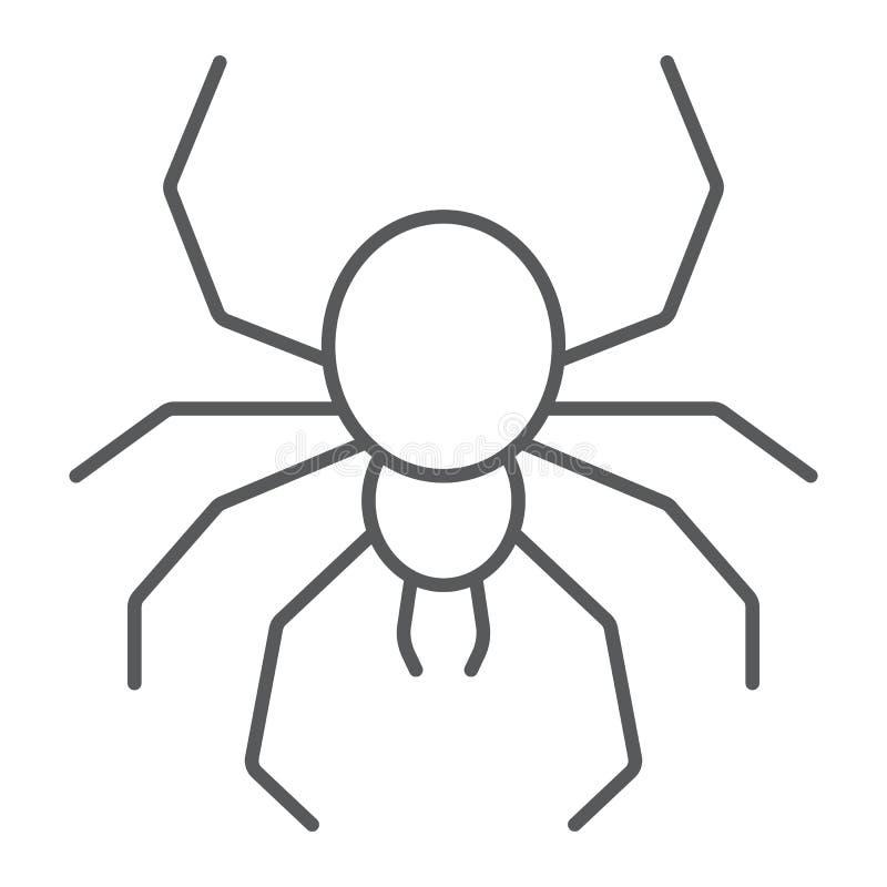 Linea sottile icona del ragno, spettrale ed animale, segno dell'aracnide, grafica vettoriale, un modello lineare su un fondo bian illustrazione di stock