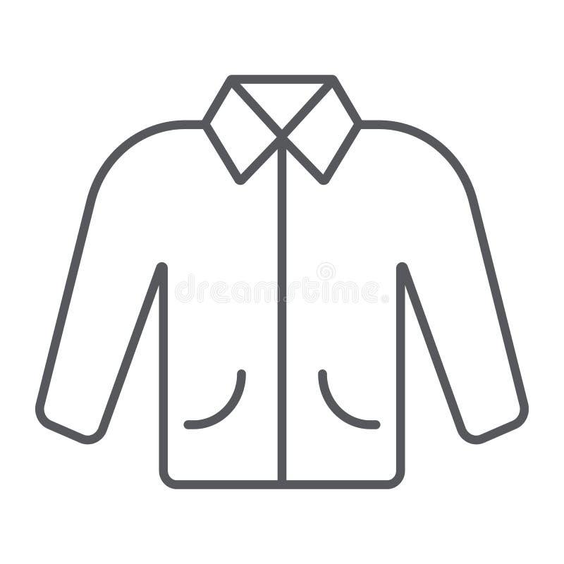 Linea sottile icona del rivestimento, vestiti e modo, segno dell'abbigliamento, grafica vettoriale, un modello lineare su un fond illustrazione di stock