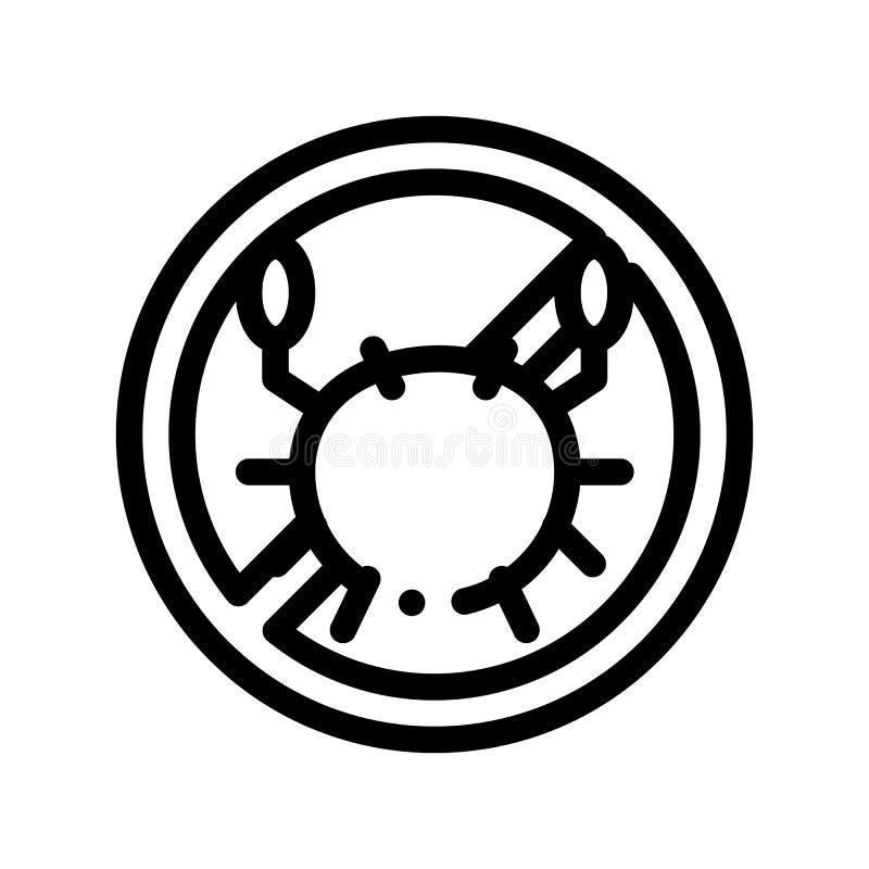 Linea sottile icona del segno dell'allergene di vettore libero dei frutti di mare illustrazione di stock