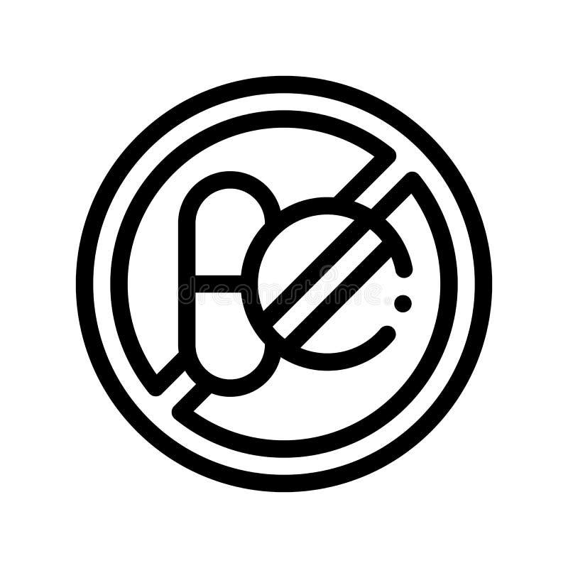 Linea sottile icona del segno dell'allergene di vettore libero della medicina illustrazione vettoriale