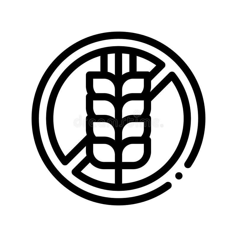 Linea sottile icona del segno dell'allergene di vettore libero del grano illustrazione di stock