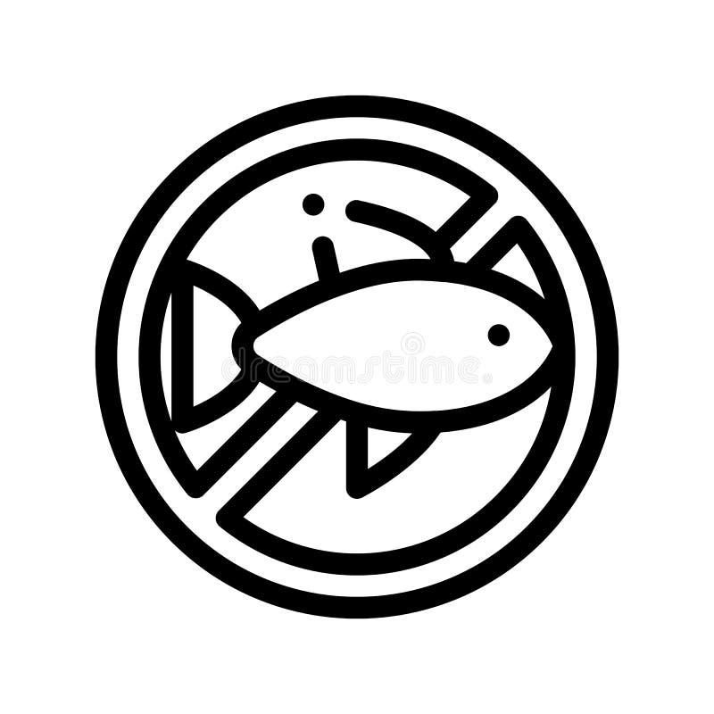 Linea sottile icona del segno dell'allergene di vettore libero del pesce royalty illustrazione gratis
