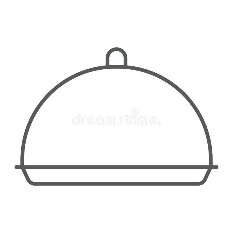 Linea sottile icona del vassoio, copertura e piatto, segno del vassoio, grafica vettoriale, un modello lineare su un fondo bianco illustrazione vettoriale