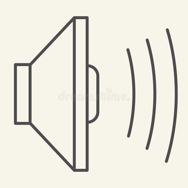 Linea sottile icona dell'audio altoparlante Illustrazione di vettore del volume isolata su bianco Progettazione sana di stile del illustrazione di stock