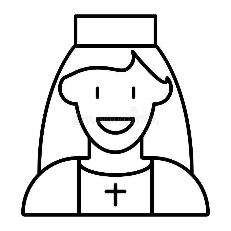 Linea sottile icona dell'avatar della suora Illustrazione sorridente di vettore della donna isolata su bianco Progettazione catto illustrazione di stock