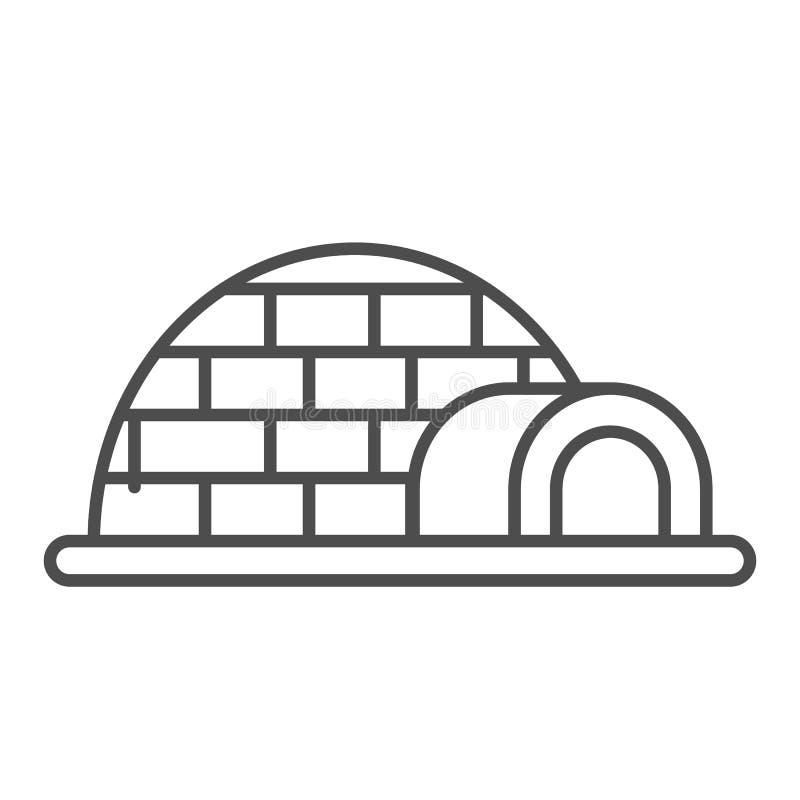 Linea sottile icona dell'iglù Illustrazione di vettore della ghiacciaia isolata su bianco Progettazione antartica di stile del pr illustrazione di stock