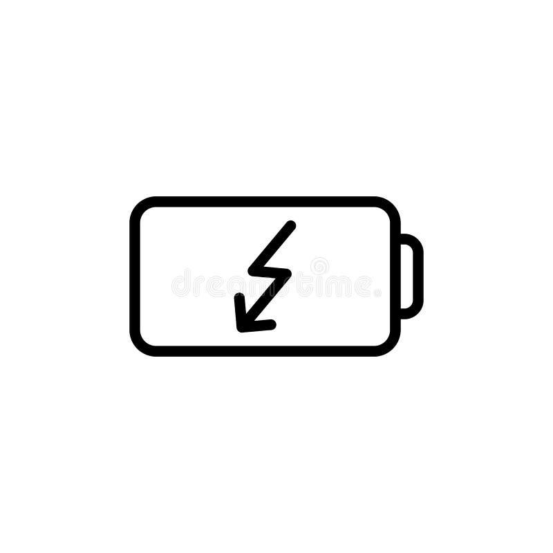 Linea sottile icona della batteria illustrazione vettoriale
