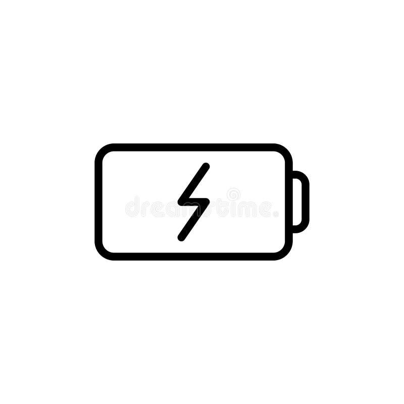 Linea sottile icona della batteria illustrazione di stock