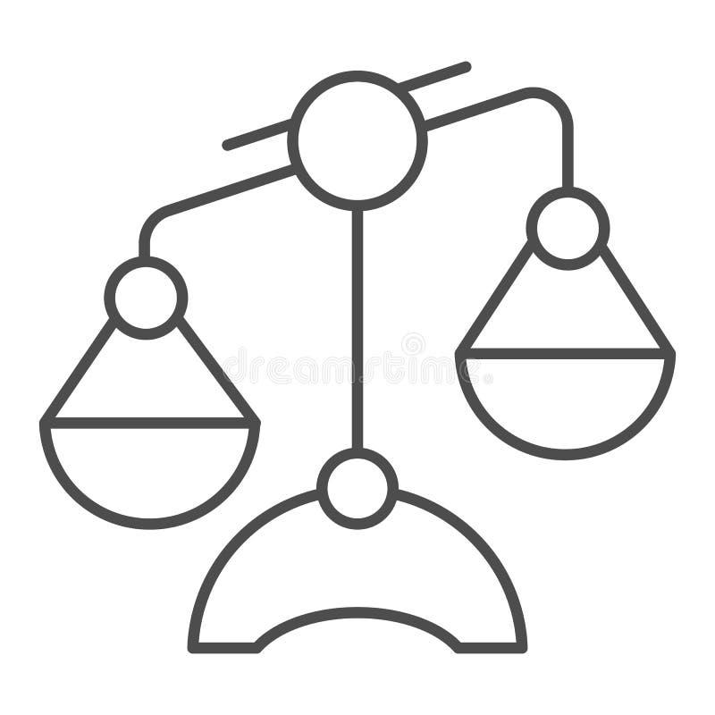 Linea sottile icona della Bilancia Illustrazione di vettore delle scale isolata su bianco Progettazione uguale di stile del profi illustrazione di stock
