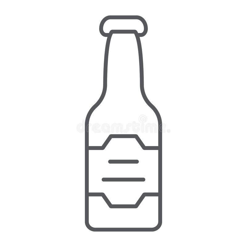 Linea sottile icona della bottiglia di birra, bevanda ed alcool, segno della lager, grafica vettoriale, un modello lineare su un  royalty illustrazione gratis