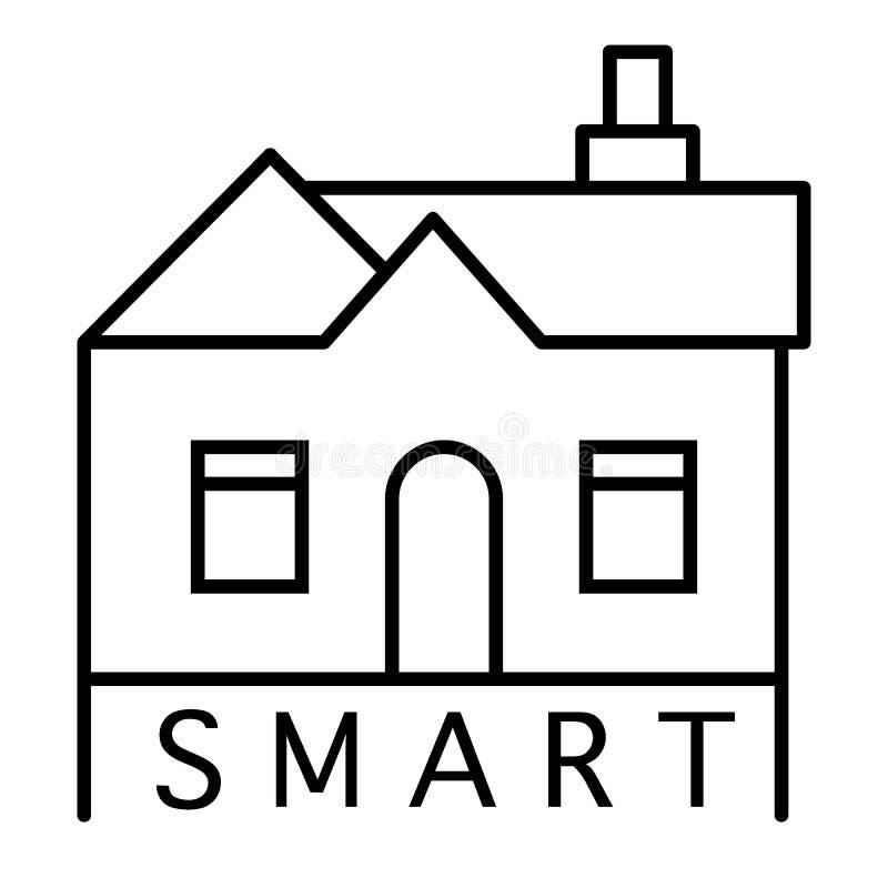 Linea sottile icona della casa intelligente Illustrazione domestica astuta isolata su bianco Progettazione di stile del profilo d illustrazione vettoriale