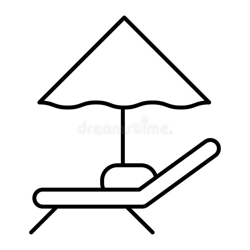 Linea sottile icona della chaise-lounge e dell'ombrello Illustrazione di vettore del segno della sedia di spiaggia isolata su bia royalty illustrazione gratis