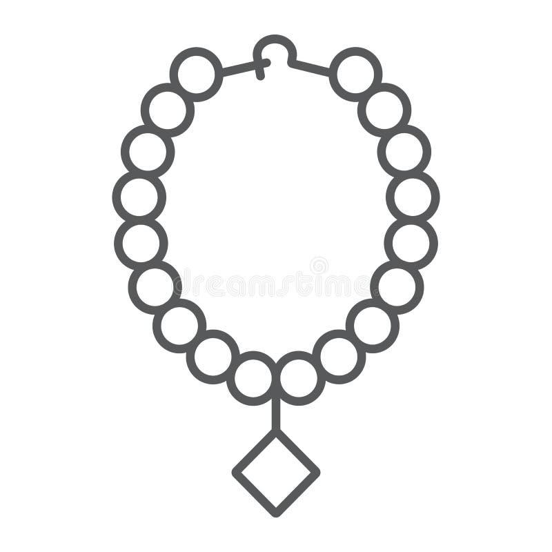 Linea sottile icona della collana della perla, gioielli ed accessorio, collana con il segno della gemma, grafica vettoriale, un m illustrazione di stock