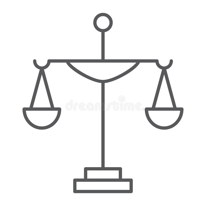 Linea sottile icona della giustizia, corte e legge, segno della scala, grafica vettoriale, un modello lineare su un fondo bianco illustrazione vettoriale