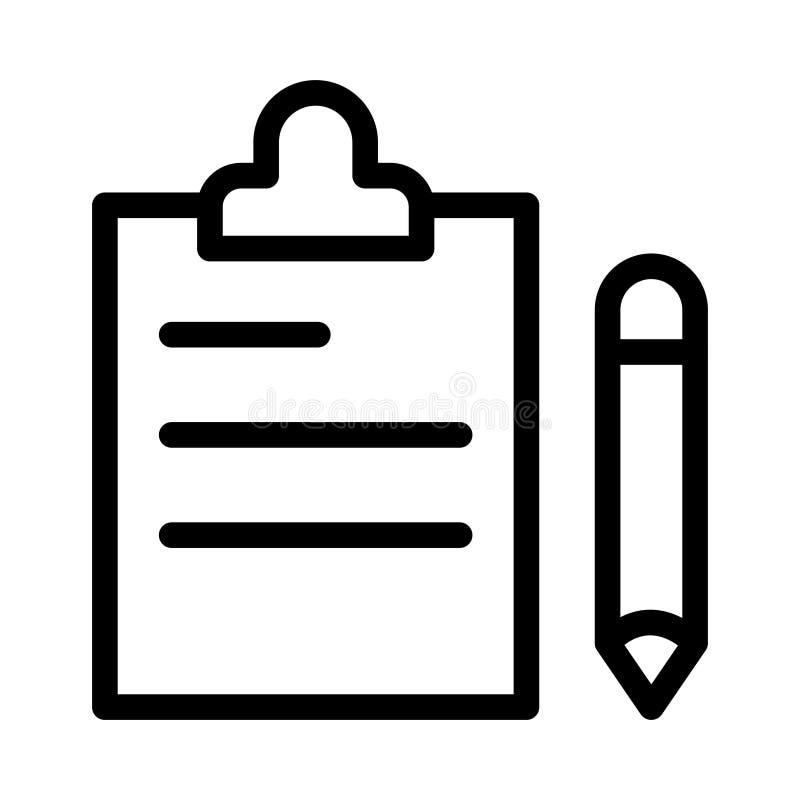 Linea sottile icona della lavagna per appunti illustrazione di stock