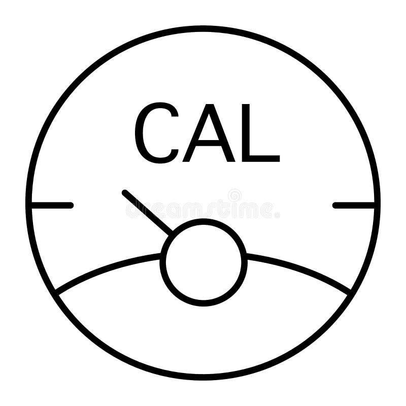 Linea sottile icona della scala di caloria Illustrazione di vettore della scala di forma fisica isolata su bianco Progettazione d illustrazione vettoriale