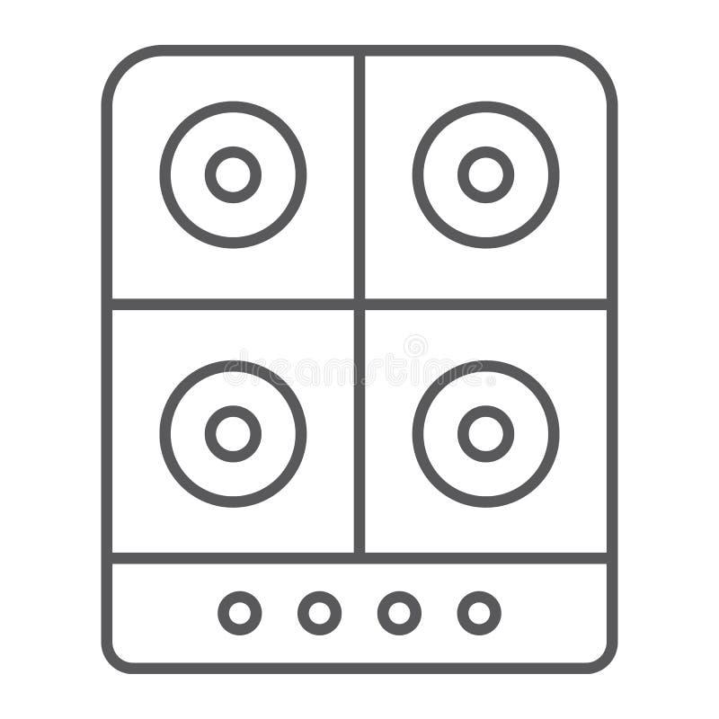 Linea sottile icona della stufa, cucina e fornello, segno elettrico della piastra riscaldante, grafica vettoriale, un modello lin illustrazione di stock