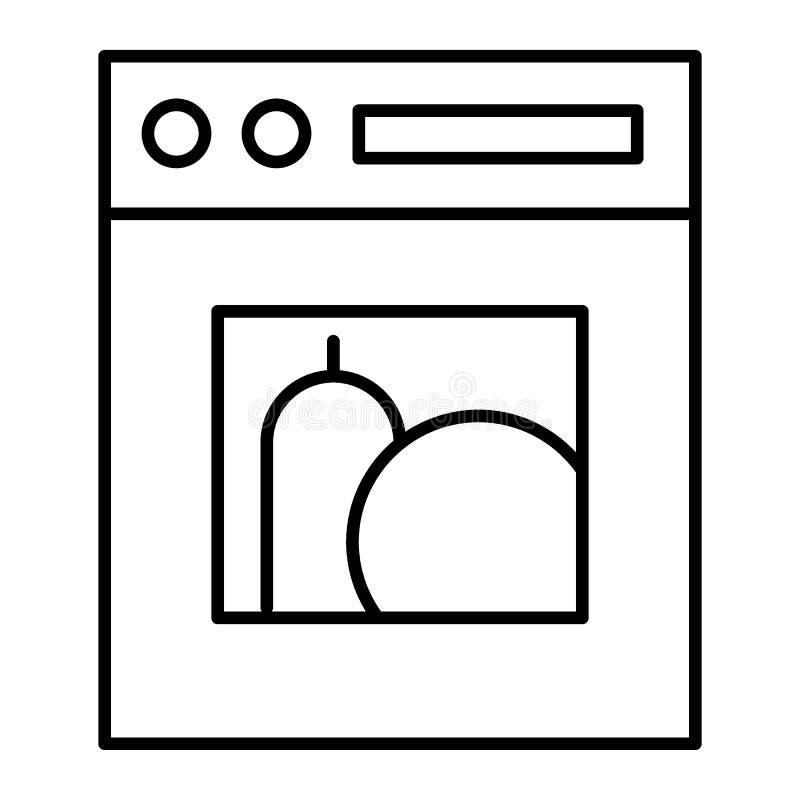 Linea sottile icona della stufa Illustrazione di vettore del fornello isolata su bianco Progettazione di stile del profilo del fo illustrazione vettoriale