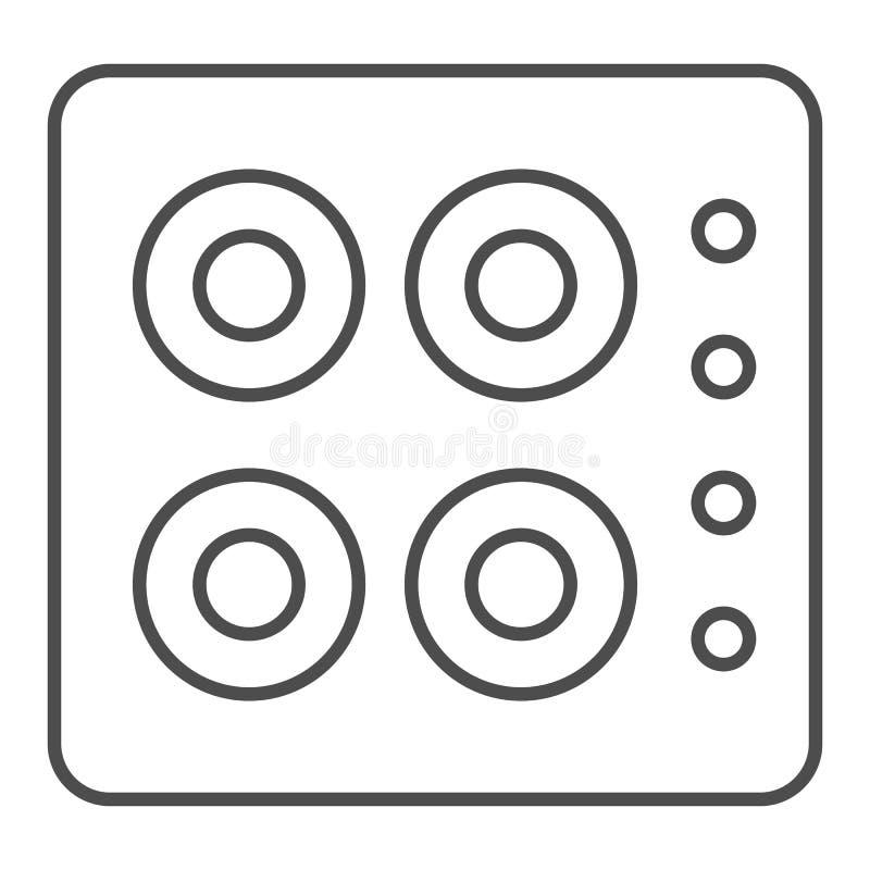 Linea sottile icona della stufa Illustrazione di vettore del fornello isolata su bianco Progettazione di stile del profilo del fo illustrazione di stock