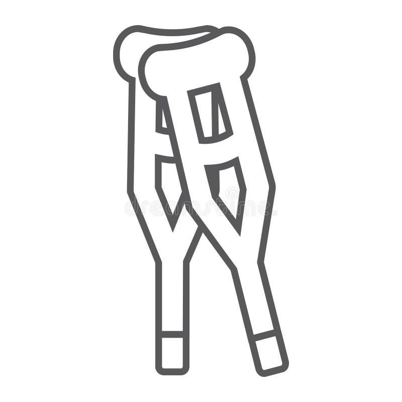Linea sottile icona delle grucce, medicina ed inabilità, segno di camminata della canna, grafica vettoriale, un modello lineare s illustrazione di stock
