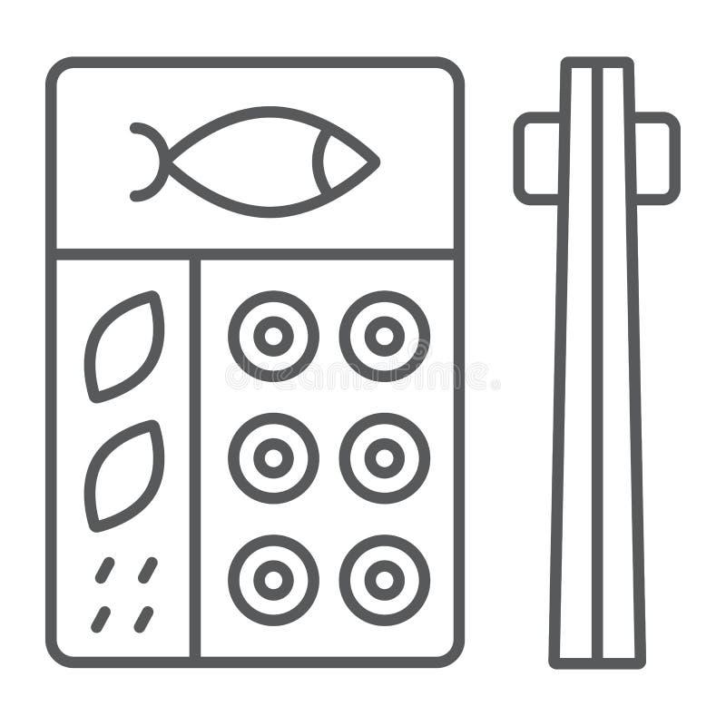 Linea sottile icona di bento, asiatico ed alimento, segno giapponese della scatola di pranzo, grafica vettoriale, un modello line royalty illustrazione gratis