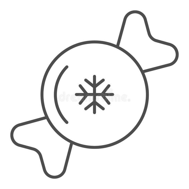 Linea sottile icona di Candy Illustrazione dolce di vettore isolata su bianco Lecca-lecca con progettazione di stile del profilo  illustrazione vettoriale