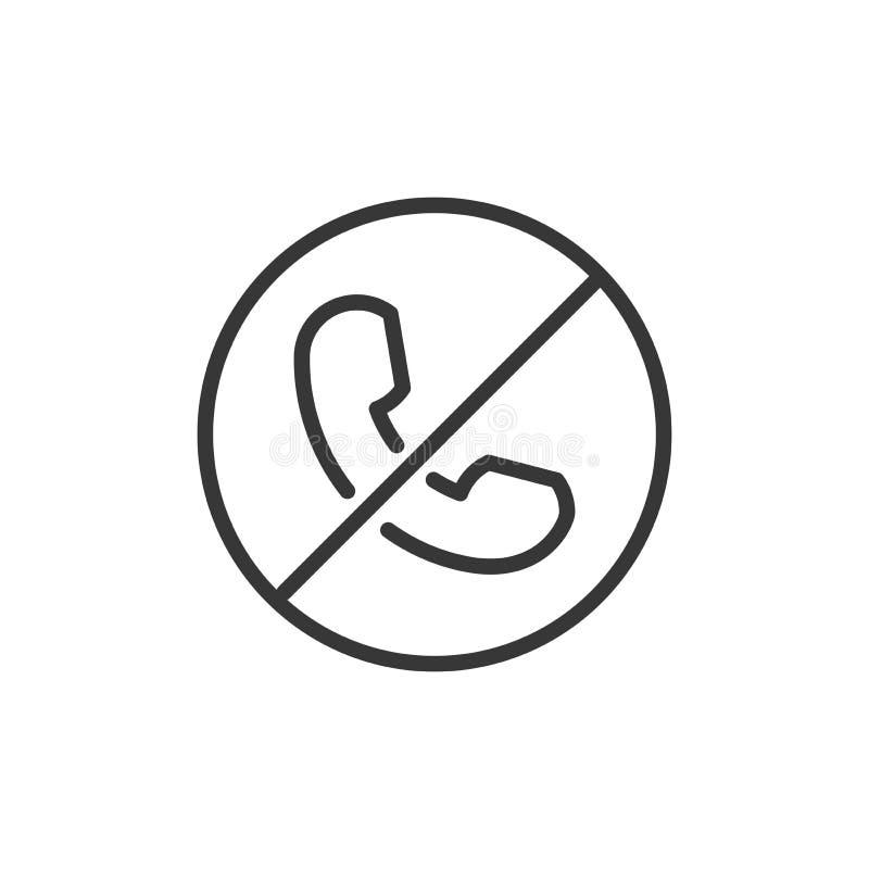 Linea sottile icona di chiamata di scarto o del blocco Illustrazione di vettore di un telefono con un cerchio e una linea attrave illustrazione vettoriale