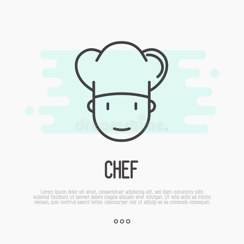 Linea sottile icona di cuoco unico in cappello per il logo illustrazione di stock