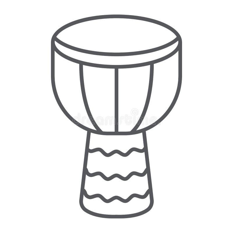 Linea sottile icona di Djembe, musica e strumento, segno del tamburo, grafica vettoriale, un modello lineare su un fondo bianco royalty illustrazione gratis