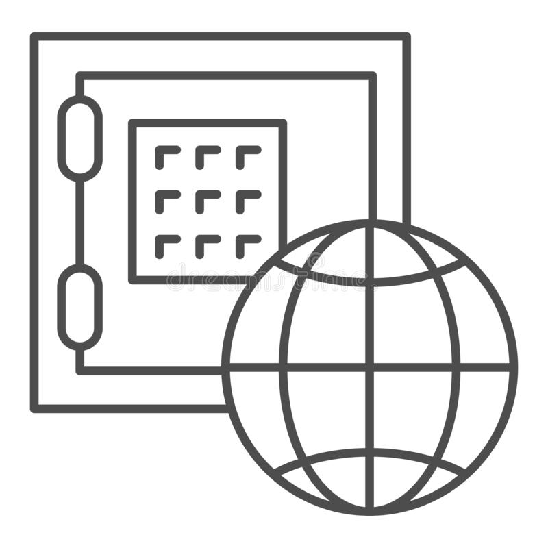 Linea sottile icona di economia globale Illustrazione sicura di vettore del pianeta e della scatola isolata su bianco Profilo di  illustrazione di stock