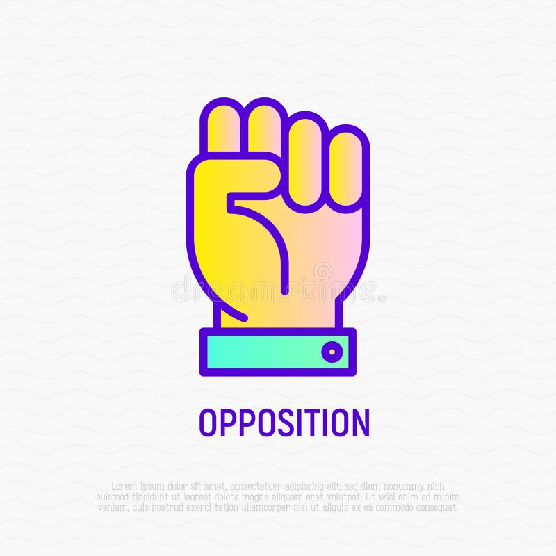 Linea sottile icona di opposizione: pugno, simbolo di potere illustrazione di stock