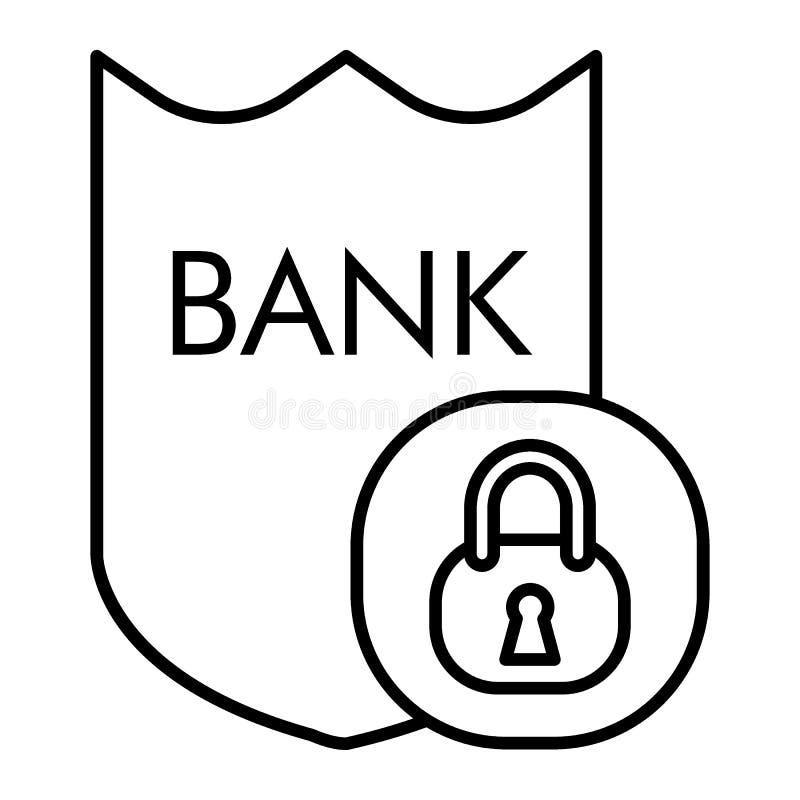 Linea sottile icona di sicurezza della Banca Illustrazione di vettore della serratura e dello schermo isolata su bianco Protegga  illustrazione di stock