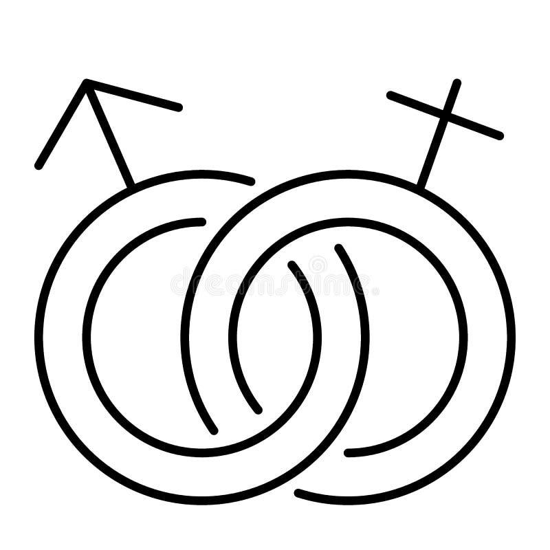 Linea sottile icona di simbolo eterosessuale Illustrazione di vettore del segno di genere isolata su bianco Profilo maschio e fem illustrazione di stock