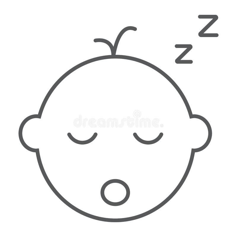 Linea sottile icona di sonno del neonato, bambino e sonno, segno del bambino, grafica vettoriale, un modello lineare su un fondo  illustrazione vettoriale