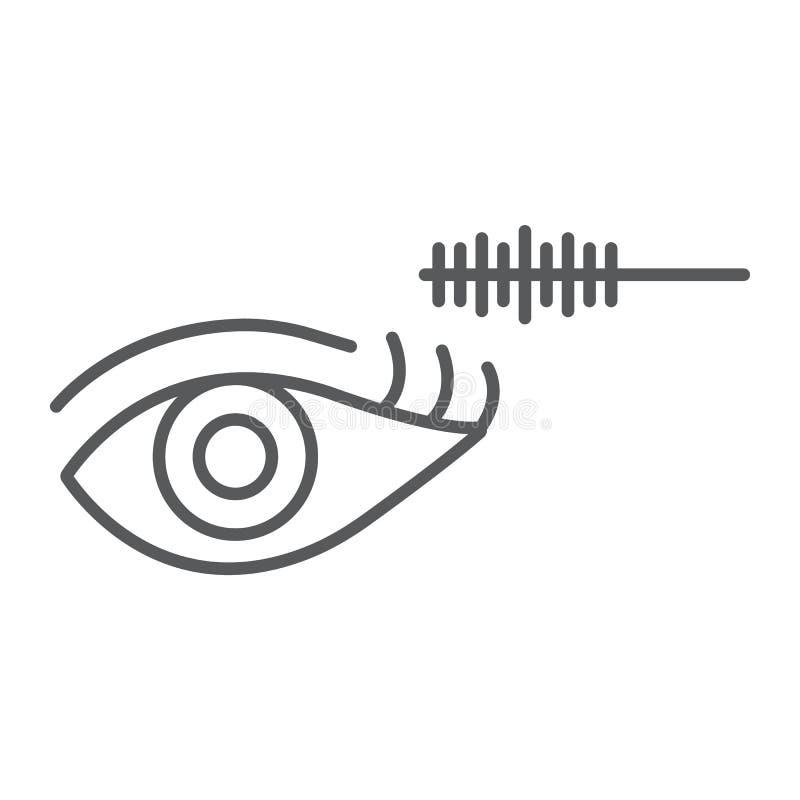 Linea sottile icona di trucco dell'occhio, bellezza e trucco, segno della spazzola della mascara, grafica vettoriale, un modello  illustrazione di stock
