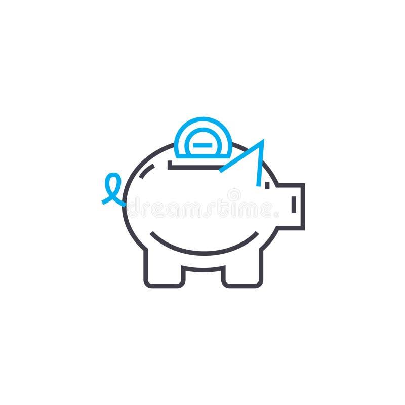 Linea sottile icona di vettore del fondo di risparmio del colpo Illustrazione del profilo del fondo di risparmio, segno lineare,  illustrazione di stock