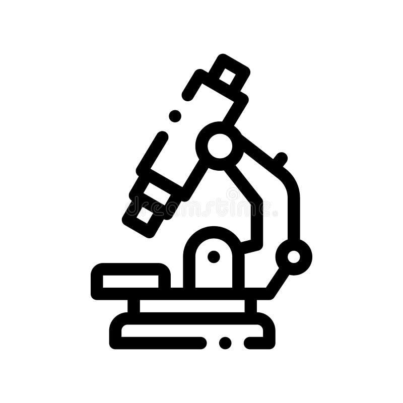 Linea sottile icona di vettore del microscopio dell'attrezzatura medica illustrazione di stock