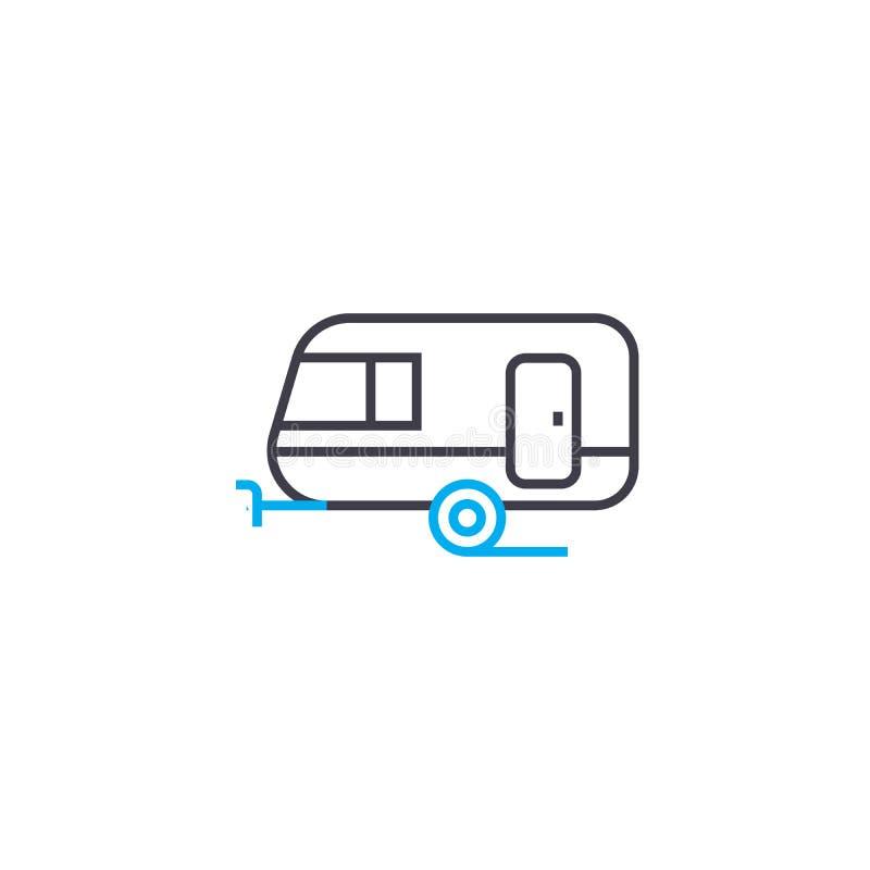 Linea sottile icona di vettore del rimorchio del passeggero del colpo Illustrazione del profilo del rimorchio del passeggero, seg royalty illustrazione gratis