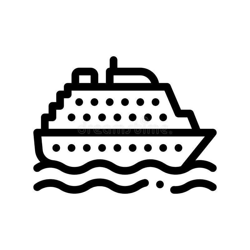 Linea sottile icona di vettore del traghetto di trasporto pubblico del segno illustrazione di stock