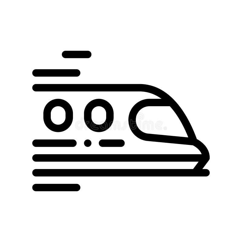 Linea sottile icona di vettore del treno di trasporto pubblico del segno illustrazione vettoriale