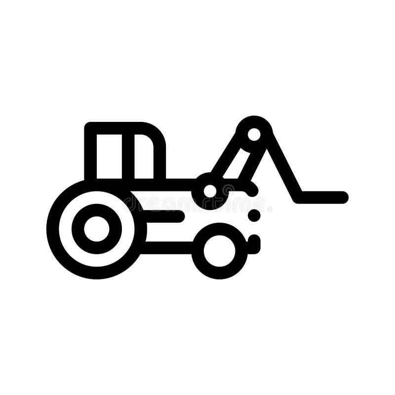 Linea sottile icona di vettore del veicolo del trattore del caricatore di caso illustrazione di stock