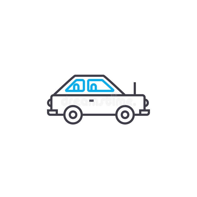Linea sottile icona di vettore dell'automobile del coupé del colpo Illustrazione del profilo dell'automobile del coupé, segno lin royalty illustrazione gratis