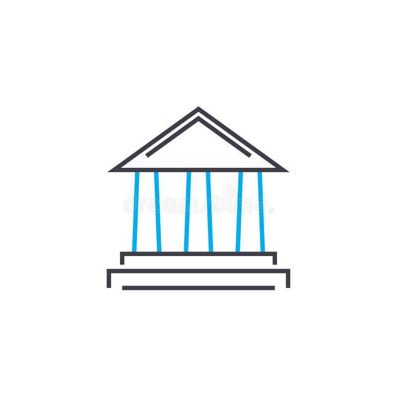 Linea sottile icona di vettore dell'istituzione finanziaria del colpo Illustrazione del profilo dell'istituzione finanziaria, seg royalty illustrazione gratis