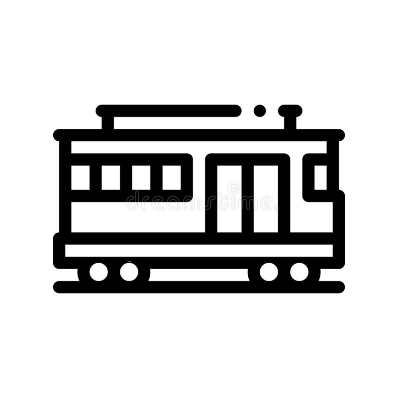 Linea sottile icona di vettore della cabina di funivia di trasporto pubblico royalty illustrazione gratis