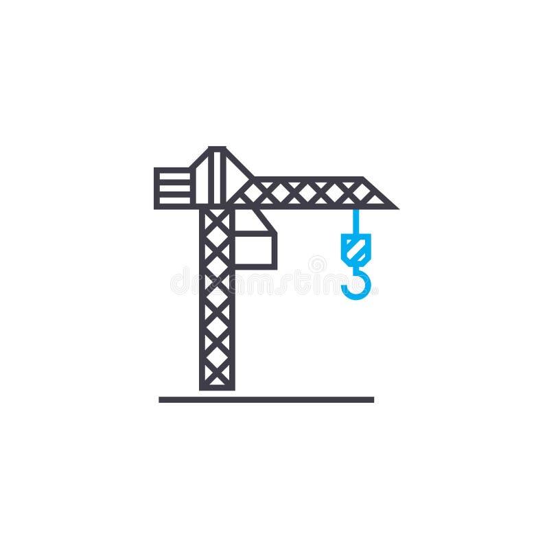 Linea sottile icona di vettore della gru a torre del colpo Illustrazione del profilo della gru a torre, segno lineare, concetto d illustrazione di stock