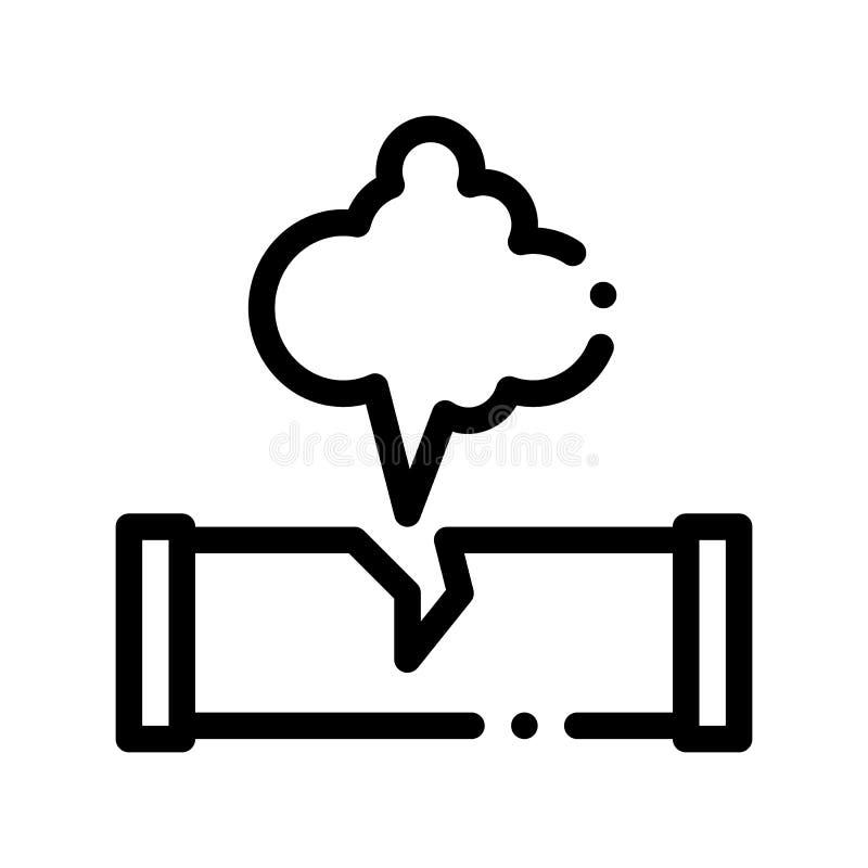 Linea sottile icona di vettore di inquinamento della rottura del tubo di Gaz illustrazione vettoriale