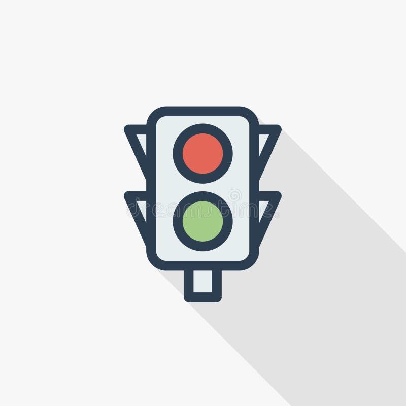 Linea sottile icona piana del semaforo di colore Simbolo lineare di vettore Progettazione lunga variopinta dell'ombra illustrazione di stock